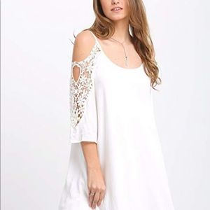 Dresses & Skirts - Cold shoulder crochet sleeve white summer dress